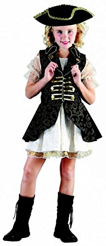 6 Kostüm Edle - KULTFAKTOR GmbH Edle Piraten-Königin Kinderkostüm Piratin blau-Weiss-Gold 110/122 (4-6 Jahre)
