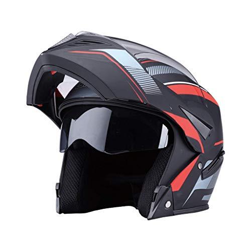 OUTO Aufdeckender Sturzhelm HD Anti-Fog-Spiegel-Motorrad-voller Sturzhelm Multifunktions-männlicher überlegener Schutz (Farbe : Sub Black Lines)