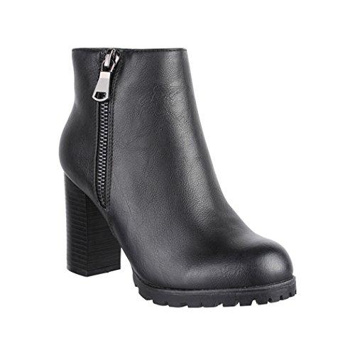 Elara Damen Stiefelette | Bequeme Ankle Boots | Chunkyrayan 2018 C223-Black-41