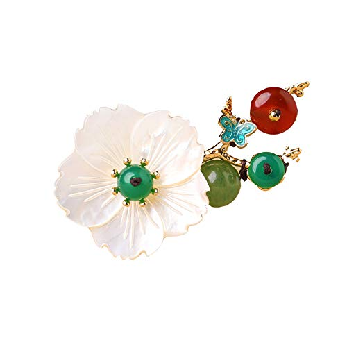 Haarklammern Stirnbänder Haarreife Shell Flower Brooch Scarf Pin Shawl Buckle Collar Brooch Retro Ethnic Style Accessories Female