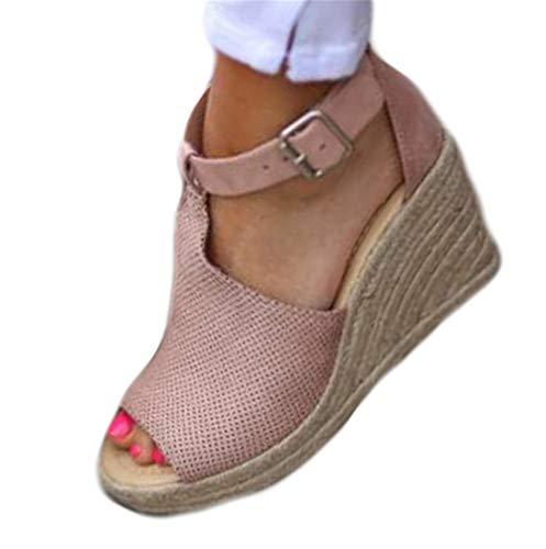 7db3abbe Sandalias Mujer de Tacón Cuñas Peep Toe Verano Zapatillas de Playa Plataforma  Zapatos con Hebilla Rosa Negro Gris Marrón Leopardo 35-43