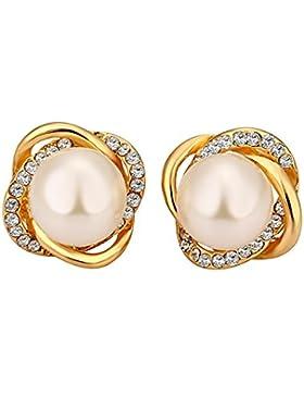 Styleziel Ohrring Ohrstecker Knoten mit funkelnden Kristallen besetzt und Perle Gold 12 mm 1753
