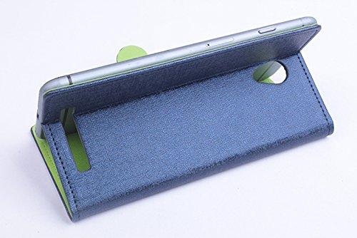 Baiwei Pu Leder Kunstleder Flip Cover Tasche Handyhülle Case für JIAYU S3 S 3 Tasche Hülle Case Handytasche Handyhülle Etui (Blau mit Halter)