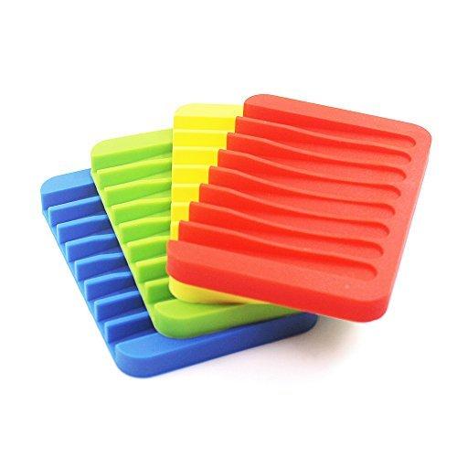 4Pack Silikon Wasserfall Seifenschale Saver-Halterung, Senhai bunt Seife Tablett Abtropfgestell für Dusche Badezimmer Küche–rot, grün, gelb, blau (Badezimmer Seifenschale)