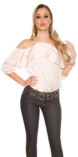 Schulterfreies Shirt mit Volant im Satinlook - Damen Coldshoulder Oberteil Bluse 3/4 Arm Farbauswahl S/M - M/L Rosa