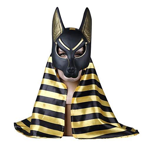 VAWAA Ägyptische Anubis Cosplay Gesichtsmaske PVC Wolf Kopf Schakal Tier Maskerade Requisiten Party Halloween Fancy Kleid Ball