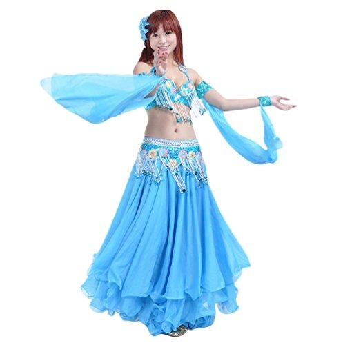 YuanDian Damen Bauchtanz Performance Doppel Ring Ärmel Flash Pailletten Armbänder Zubehör Tribal Oriental Arabian Belly Dance Ärmel (Keine Röcke Und BHs) See Blau - Kostüm Tänzerin Orientale Anlass