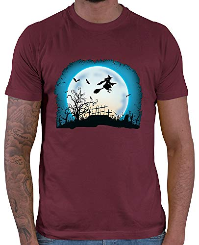 HARIZ  Herren T-Shirt Hexe Mond Fliegen Halloween Kostüm Verkleidung Karneval Plus Geschenkkarten Wein Rot ()