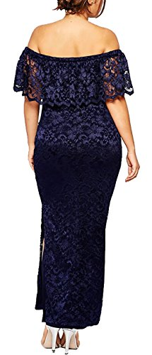 MYWY - Abito lungo donna vestito pizzo lungo sottogonna spalle spacco coscia laterale comodo sexy elegante taglie grandi Blu