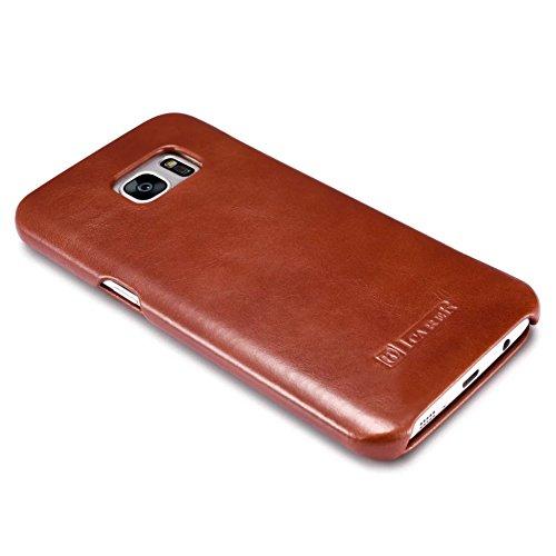 [ICARER] Samsung Galaxy S7 Handytasche Hülle, [ECHT LEDER] [HANDGEFERTIGT] [MAGNETVERSCHLUSS] Full Protection Zubehör Case Tasche Etui IPhone Flip Case Leder Schutzhülle von Icarer Vintage Classic Ser Braun