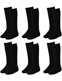6 Paar Kinder Kniestrümpfe unifarben schwarz in 3 verschiedenen Größen