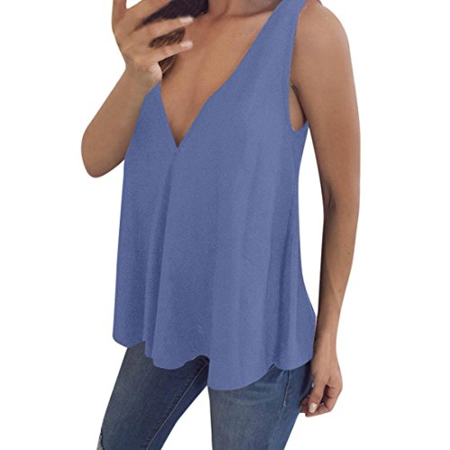 ESAILQ Damen Collection Damen Tagless T-Shirt Basic mit V-Ausschnitt(XL,Blau)