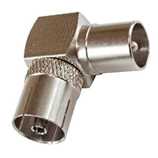 1 x 90 Degree Coax Socket Female to Coax Plug Male by Auline® Convert Existing Aerial Cable to Right Angle / Angled Connector