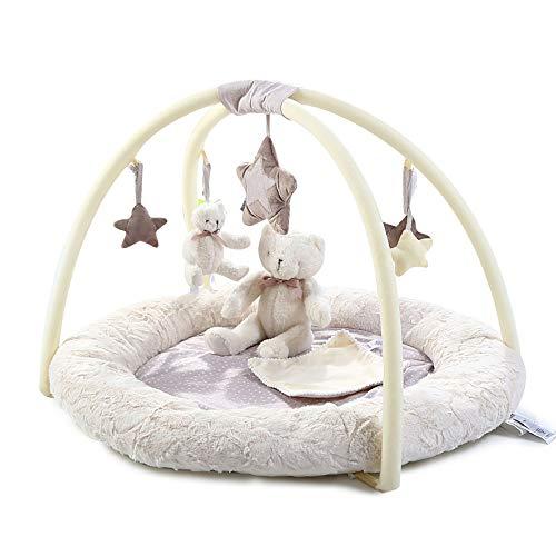 XASY 3-D-Activity-Nest Bär - Baby Spielmatte Babyspielzeug Besonders weicher Spielbogen Spielbogen mit 6 abnehmbaren Spielzeugen für Babys Spiel & Spaß von Geburt an - Maße: 85x85x50cm - Rainforest Activity