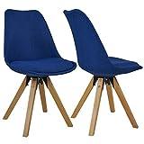 Duhome Elegant Lifestyle Stuhl Esszimmerstühle Blau Küchenstühle !2 er Set! Farbauswahl mit Holzbeinen Sitzkissen Esszimmerstuhl Retro Stoffbezug TYP9-518EM