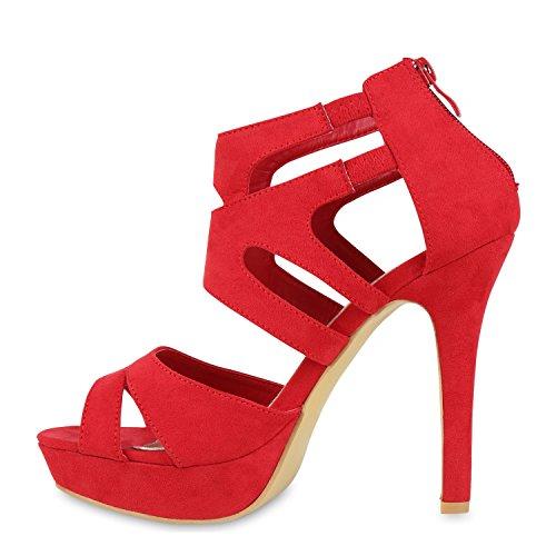 Damen Sandaletten | Plateau Sandaletten Strass | Stiletto Cut-Outs Schuhe | Party High Heels Metallic Lack | Partyschuhe Veloursleder-Optik Rot