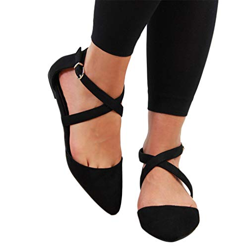 Sommer Halbschuhe für Damen/Dorical Frauen Kreuz Riemchensandale Pointed Toe Sexy Sandalen, Flach mit Schnallen Damenschuhe Mode einfache Wildleder Schuhe 35-43 EU Ausverkauf(Schwarz,39 EU)