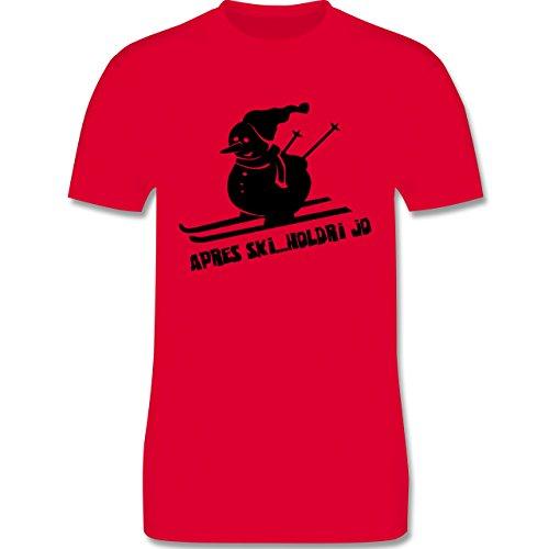 Après Ski - Ski Schneemann - Herren Premium T-Shirt Rot