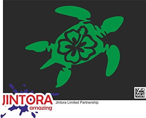 JINTORA Aufkleber für Auto/Autoaufkleber - JDM - Die Cut - Schildkröte Hawaii - 118x99 mm - JDM/Die Cut - Bus - Fenster - Heckscheibe - Laptop - LKW - Tuning - grün (Lkw-laptop)