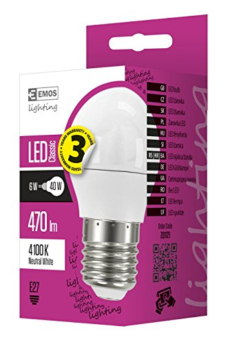 EMOS LED Glühlampe Classic Mini Globe 6W E27 neutralweiß, Glas, 6 W, Transparent, 4,7 x 4,7 x 9 cm