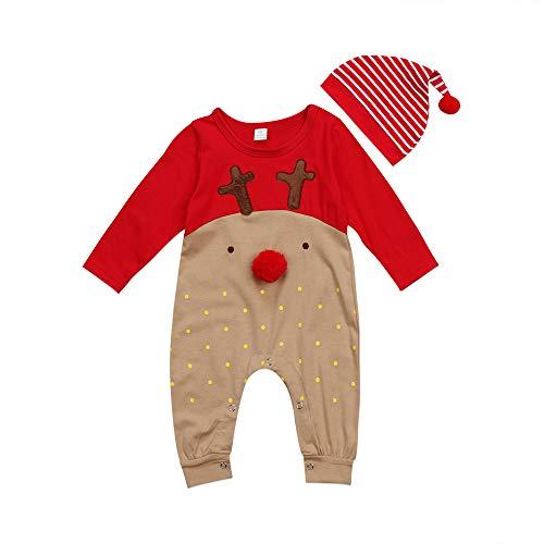 FangYOU1314 Neugeborene Babykleidung Sets Unisex Neugeborenes Baby Overall Langarm Weihnachten Mantel Deer Baby Weihnachtsmann Kostüm (Größe : 70)