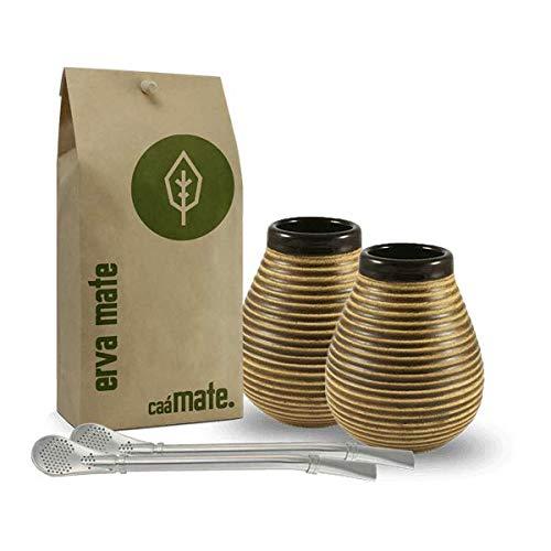 caámate. Mate Tee Set für Zwei | 2X Keramik+2X Bombilla + Bio Matetee 500g -