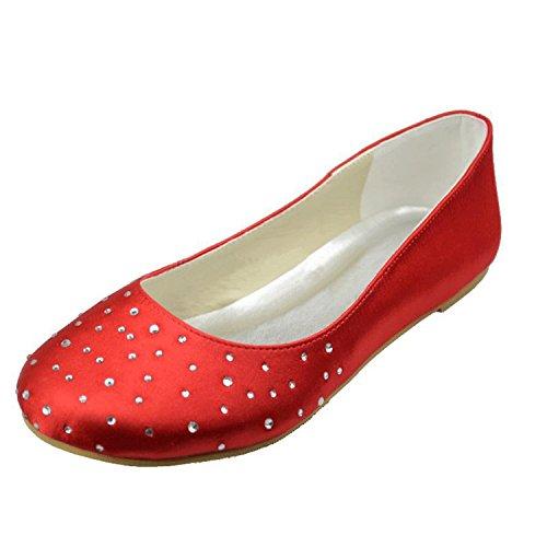 MINITOO , Damen Tanzschuhe, rot - Red-0.5cm Heel - Größe: 36.5 - Glitter Bow Flats Schuhe