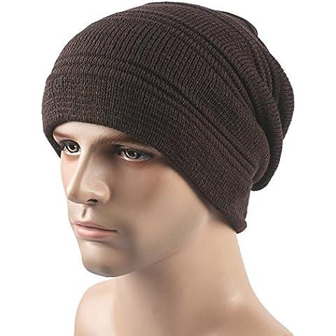 Plegar el sombrero en invierno, gorro de lana y felpa unisex exterior caliente en otoño e invierno knit hat ski Pac,Brown,L(58-60cm)