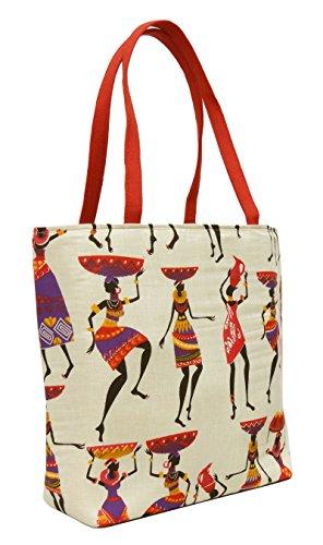 """Frauen Schulter Tribal große Handtasche Baumwolle Jute beiläufige Damen Einkauf Purse 17"""" x 13,5"""" Zoll Beige und Rot"""