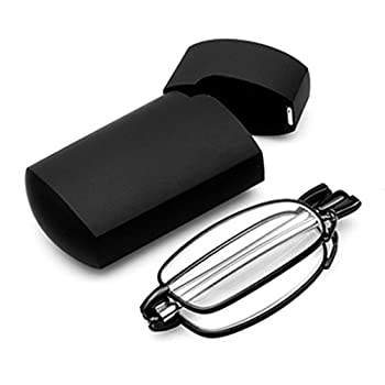 f82177acc89 SODIAL(R) Portable 1 Pairs of Compact Folding Reading Glasses with Mini  Flip Top Carrying Case for Fashion Men and Women Rotation Eyeglass +1.5  black ...