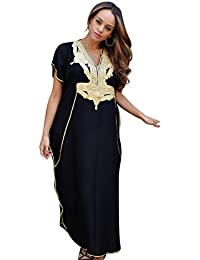 72086c7f85 New Handmade Ladies Kaftan Resort Wear Cover-up Fashion Black with Gold  Marrakech Cotton Caftan