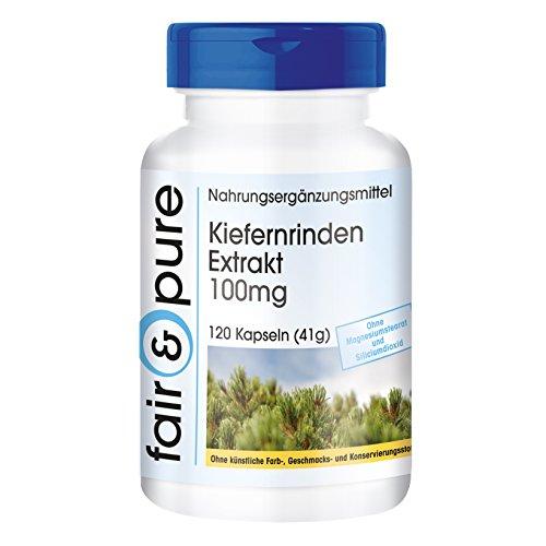 Kiefernrinden Extrakt 100mg, standardisiert auf 95% Proanthocyanidine, vegan, ohne Magnesiumstearat, 120 Kiefernrinden-Extrakt Kapseln