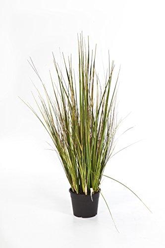 artplants - Kunst-Seychellengras SATRIO, 455 Halme, grün-gelb-braun, 90 cm - Grasbüschel künstlich/Deko Pflanze