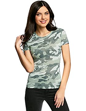 oodji Collection Donna T-Shirt Dritta con Scollo Rotondo