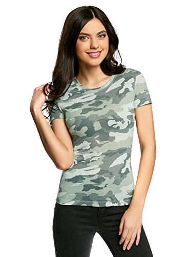 oodji Collection Mujer Camiseta Recta con Cuello Redondo, Verde, ES 46 / XXL