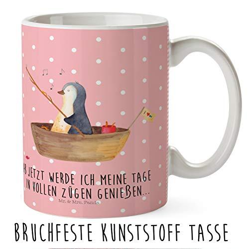 Mr. & Mrs. Panda Tasse, Kaffeetasse, Kindertasse Pinguin Angelboot mit Spruch - Farbe Rot Pastell