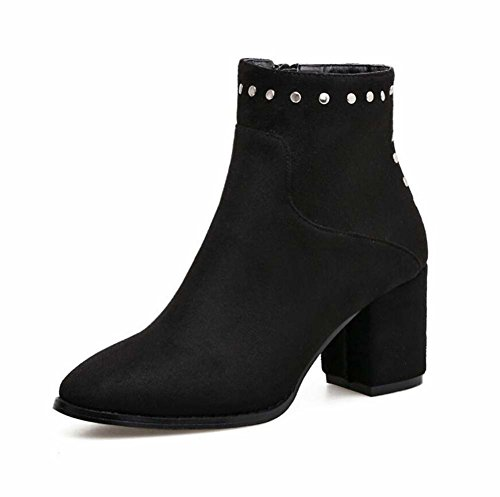 7cm Chunkly Heel Knight Bottes Martin Bottes Femmes Doux Pointed Toe Seude Rivets Zipper Bootie Robes Chaussures Punk Boots Bottes de cheville Eu Taille 35-40