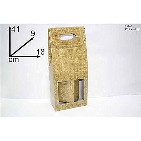 SCATOLA BOX PER 2 BOTTIGLIE MARRONE ORO VINO BIRRA OLIO 750 ML MANICO CARTONE