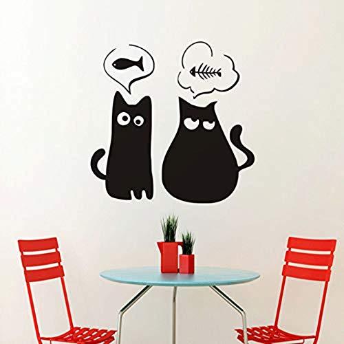 Wandaufkleber Persönlichkeit Katze Möchten Fisch Vinyl Wandtattoo Wohnkultur Wohnzimmer Schlafzimmer Kunst Tapete Abnehmbare Wandaufkleber (Fisch Möchten)