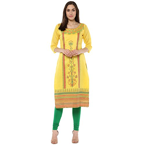 Indimania Women's Yellow Color 3/4 Sleeve Colour Pigment Print Straight Festive Wear Chanderi Silk Kurta (IMKUCH20032)  available at amazon for Rs.603
