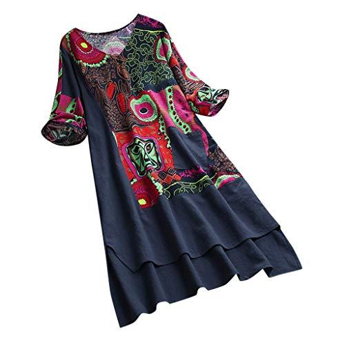 Jersey Rüschen Rock (Lialbert Boho Dame Rundhalsausschnitt Leinenkleid Kleid Skaterkleid ÄRmeln Kurzes Schwingendes Plissierter Rock RüSchen T-Shirt-Kleid ÄRmeln Overlay Tunika Lockerer Blau)