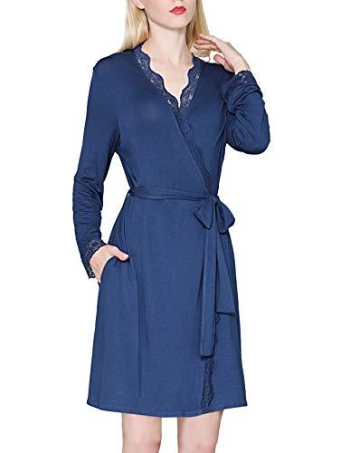 KOWENTIK Damen Morgenmantel Lang Bademantel Spitze Pyjamas Saunamantel Schlafanzug Nachtwäsche Kimono Schwangerschaft mit Gürtel Taschen (Blau, M) (Damen-braut-abend Taschen)