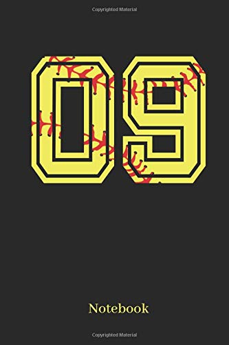 09 Notebook: Softball Player Jersey Number 09 Sports Notebook Journal Diary - 120 Lined Pages