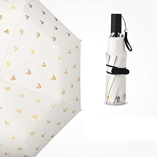 Regenschirm 230g Ultraleichter Kleiner Sonnenschirm Sonnenschutz UV-Faltender weiblicher Regenschirm Doppelt verwendbarer Sonnenschutz Erwachsener (Color : White)