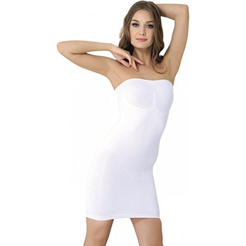 Formeasy Figurformendes Damen Miederkleid Trägerlos, Bauchweg Unterkleid, Body Shaper, stark Formende Unterwäsche Formwäsche (M,Weiss)