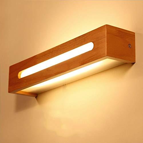 AZWE Modernen japanischen Stil Led Eiche Holz Wandleuchte Nordic Massivholz Acryl bilden Spiegel Wandleuchten Bett Regal Wandleuchte für Schlafzimmer Bad,Breite: 35 cm - Stil-holz-bett