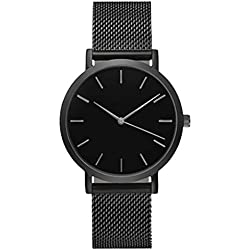 KEERADS Quartz Watch with Analogue Display and Stainless Steel Strap Black