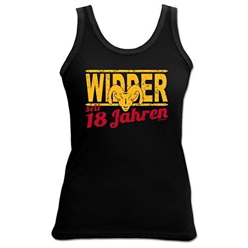 Damen T-Shirt, Tanktop, 4Girls, Funshirt, tolles Geschenk zum 18. Geburtstag, Sternzeichen Widder Schwarz