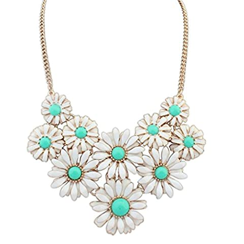 Aooaz Womens Bohemian Statement Necklace Vintage Love Long Choker Necklace Flower Cluster Green