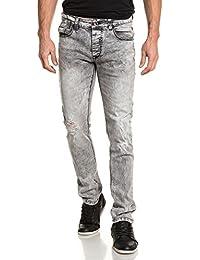 BLZ jeans - Jeans homme gris délavé troué